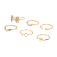 Gold and Crystal Amore Stacking Rings