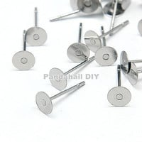 50pcs Original Color Stainless Steel Ear Stud Components for DIY Earrings Findings 3 Size:12x5mm,12x6mm,12x8mm Pin: 0.7mm