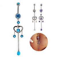 New Charming Dangle Crystal Navel Belly Ring Bling Barbell Button Ring Piercing Body Jewelry = 4672674884