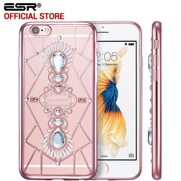 Soft TPU Fashion Woman Girl case with Bling Crystal Glitter Electroplate Frame cover for iPhone 6/6s