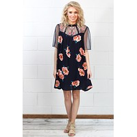Meshed with Floral Embroidery Dress {Navy} - Size MEDIUM