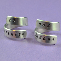 to infinity and beyond - Spiral Rings, Hand stamped, Handwritten Font, Shiny Aluminum, Forever Love, Friendship, V.2