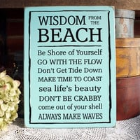 Sayings from the Beach Wooden Sign Cottage Wall Decor Summer Coastal Living Handcrafted