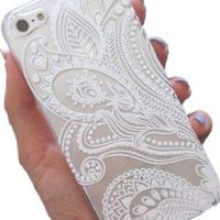iPhone 6S Case,iPhone 6 Case,Hundromi iphone 6/6S Plastic Clear Case Cover Henna White Floral Paisley Flower Mandala For iphone 6/6S(4.7- inch)