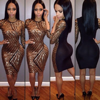 Fashion Gold Sequins Backless Celebrity Bandage Bodycon Party Cocktail Dress B4365 (Color: Gold) = 1956652356