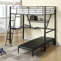 Hipster collection Twin loft bed with workstation underneath and fold out single futon chair sleeper