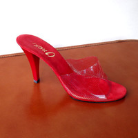 Red Spike Heel Shoes, Womens Sexy Shoes, Vintage 1970s Lucite Slide Peep Toe, Size 8 US N Narrow