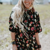 Midnight Romance Floral Romper - Black