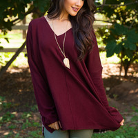 Maxine Oversized Plaid Sweater - Burgundy