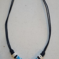 Tooth of Shark Necklace with Turquoise OHM Bone Beads
