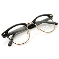 Optical Quality Horned Rim Clear Lens RX'able Half Frame Horn Rimmed Glasses + Gift Box