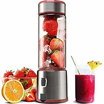 Personal Glass Smoothie Blender, Kacsoo S610 USB Rechargeable Portable Blender Juicer Cup, Single Serve Fruit Mixer, Multifunctional Small Travel Blender for Shakes and Smoothies, with 5200 mAh Rechargeable Battery, FDA BPA Free