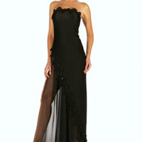 Black Tube Gown with Thigh Slit