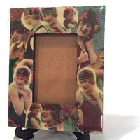 Vintage Decoupage Bathing Beauties Picture Frame Blue Ladies 1920s Flappers Swimsuit