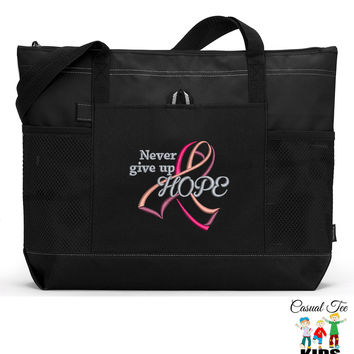 Personalized Never Give Up Hope Breast Cancer Awareness Zippered EmbroideredTote Bag with Mesh Pockets, Beach Bag