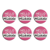 Michele Hello My Name Is Plastic Resin Button Set of 6