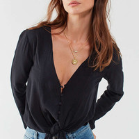 Silence + Noise Tie-Front Button-Down Top   Urban Outfitters