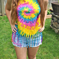Rainbow Fringed Tie Dyed Tank Top, Women's Small