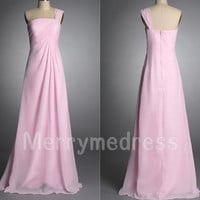 Pink One-shoulder Ruffled Strapless Long Bridesmaid Celebrity Dress,Floor length Chiffon Formal Evening Party Prom Dress Homecoming Dress