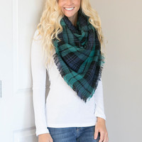 Perfect For Fall Oversized Plaid Blanket Scarf (Green)