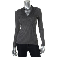 INC Womens Ribbed Knit Heathered Pullover Sweater