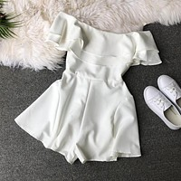 new summer playsuits 2019 women short sleeve sexy off shoulder shorts jumpsuits ladies solid beach wear beho Rompers Bodysuits