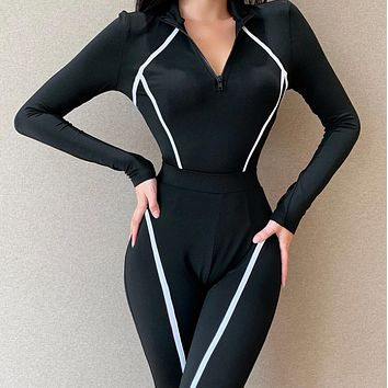 Explosive style hot sale long-sleeved stitching top + long pants women