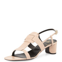 Roger Vivier Leather Pilgrim-Buckle City Sandal, Beige