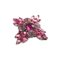 Vintage  Silvertone Shades of Pink Navette Chaton Pasted Stone Brooch Pin