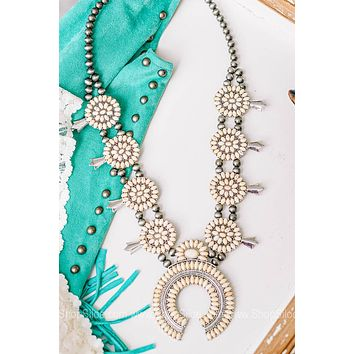 Montana Squash Blossom Necklace with White Accent