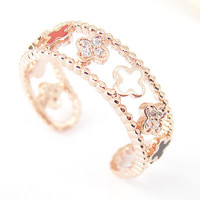 Women's Teen's Ring Pink Rose Gold Multi Color Cross Wrap Ring Size Free Adjustable