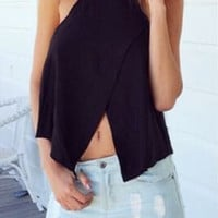 Black Spaghetti Strap Wrap Cut-Out Top