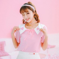 Harajuku Bow Tie Heart T-shirt