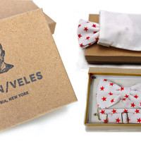 Men's Bow Tie Pre-Tied White with Red Stars - PERFECT VALENTINES GIFT