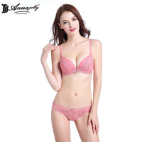 Annajolly Women Bra Sets Push Up Bras And Panties Briefs Top Embroidery Floral Lace Lingerie Fashion Pink Blue Underwear D1103