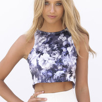 Purple Black & White Floral Print Crop Top with Cutout Back