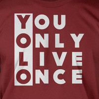 YOLO - You only live once - Screen Printed T-Shirt Tee Shirt T Shirt Mens Youth Kids Funny Geek