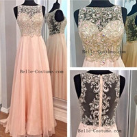 Custom-made Prom Dresses, Long Prom Dresses, See Through Back Prom Dress, Evening Dress
