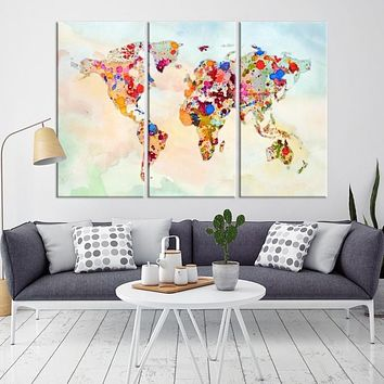 99573 Large Wall Art World Map Watercolor Canvas Print World Map Poster Print