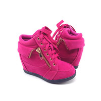 Hot Pink Suede Sneaker with Wedge for Girls