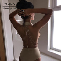 Sexy Women Bodysuit Solid Overalls Summer  Bodycon backless Jumpsuit romper Backless sequin chain Woman Playsuit