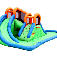 Bounceland Inflatable Island Water Slides Backyard Water Park with large pool