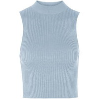 '90s Knitted Ribbed Crop Top - Blue