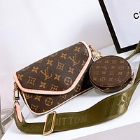 LV multi-purpose women's canvas shoulder bag coin purse two-piece set