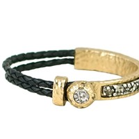 Tat2 Designs Gold & Black Leather Ropu Bangle