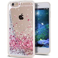 iPhone SE Case,iPhone 5S Case,iPhone 5 Case,NSSTAR iPhone 5S Case iPhone 5,Case for iPhone 5S,Hard Case for iPhone 5S, Fashion Creative Design Flowing Liquid Floating Luxury Bling Glitter Sparkle Love Heart Hard Case for Apple iPhone SE & iPhone 5S 5 (Love