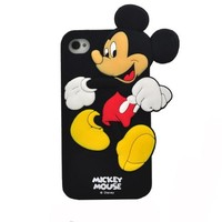 BYG Lovely Cartoon Mickey Mouse Soft Silicone Case Cover For Apple Iphone 5 5G + Gift 1pcs Phone Radiation Protection Sticker