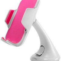 Cellet Universal Windshield Car Phone Holder for Smartphones (Up to 3.5 Inches Wide) - White/Pink