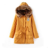 Yellow Pocket Drawstring Parka Coat