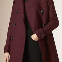 Collarless Wool Blend Coat